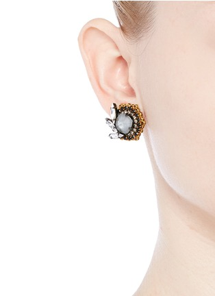 Figure View - Click To Enlarge - Erickson Beamon - 'Milky Way' 24k gold plated Swarovski crystal stud earrings