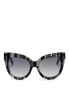 LINDA FARROWx Erdem lace print acetate cat eye sunglasses