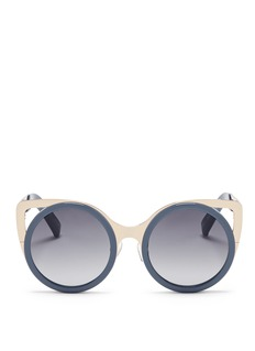 LINDA FARROW DESIGNERS COLLECTION x Erdem 'Playful' metal cat eye corner round sunglasses