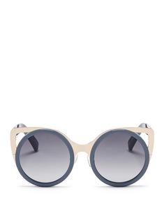 LINDA FARROW DESIGNERS COLLECTIONx Erdem 'Playful' metal cat eye corner round sunglasses