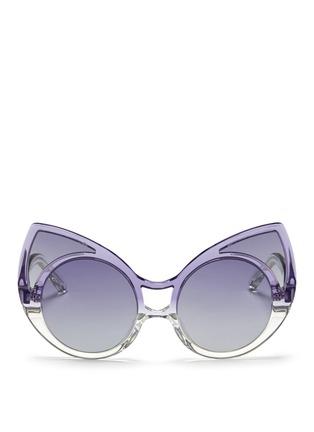 Linda Farrow Designers Collection-x Khaleda Rajab + Fahad Almarzouq 'Pointy' ombré acetate cat eye sunglasses