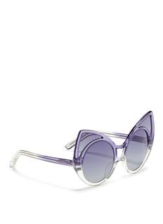 LINDA FARROW DESIGNERS COLLECTIONx Khaleda Rajab + Fahad Almarzouq 'Pointy' ombré acetate cat eye sunglasses