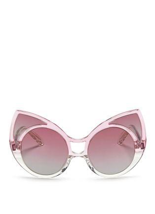 Linda Farrow Designers Collection - x Khaleda Rajab + Fahad Almarzouq 'Pointy' ombré acetate cat eye sunglasses