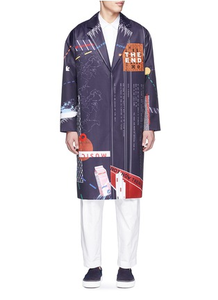 The World Is Your Oyster - Graphic print satin twill long coat