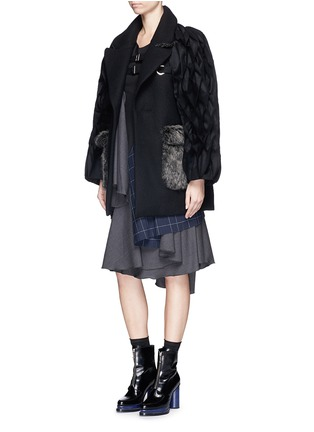 Figure View - Click To Enlarge - FACETASM - 'Jovial' honeycomb sleeve wool coat