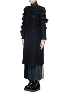 FACETASM'Wow' pleat ruffle trim wool coat