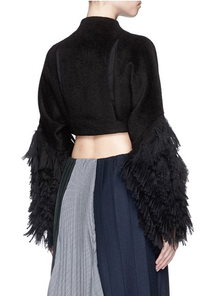 Back View - Click To Enlarge - FACETASM - 'Shifted' fringe sleeve cutout cropped jacket