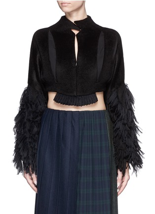 Main View - Click To Enlarge - FACETASM - 'Shifted' fringe sleeve cutout cropped jacket