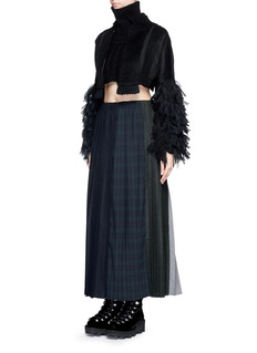 FACETASM 'Changing' variegated pleat wool midi skirt