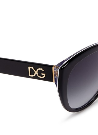 Detail View - Click To Enlarge - Dolce & Gabbana - Maiolica print interior acetate sunglasses