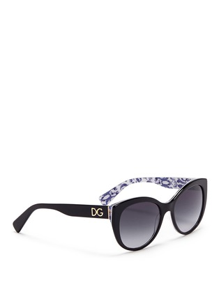 Figure View - Click To Enlarge - Dolce & Gabbana - Maiolica print interior acetate sunglasses