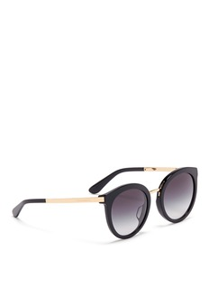 Dolce & Gabbana Metal temple acetate round cat eye sunglasses