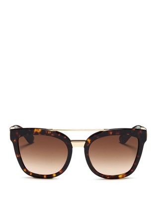 Main View - Click To Enlarge - Dolce & Gabbana - Metal temple tortoiseshell acetate sunglasses