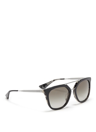 Figure View - Click To Enlarge - Prada - Shell effect acetate angular sunglasses