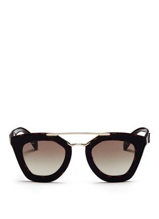 Main View - Click To Enlarge - Prada - Inset leather rim tortoiseshell acetate sunglasses