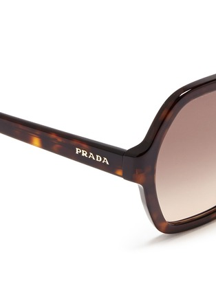Detail View - Click To Enlarge - Prada - Tortoiseshell effect acetate hexagonal sunglasses