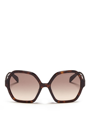 Main View - Click To Enlarge - Prada - Tortoiseshell effect acetate hexagonal sunglasses
