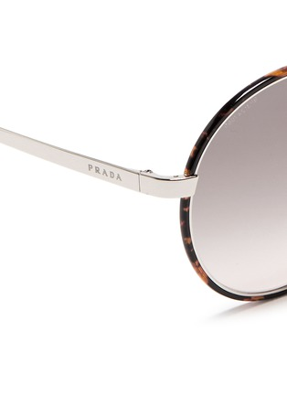 Detail View - Click To Enlarge - Prada - Tortoiseshell acetate rim metal round sunglasses