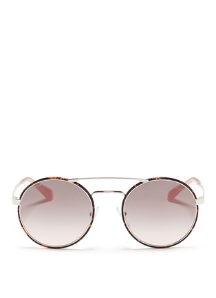 Main View - Click To Enlarge - Prada - Tortoiseshell acetate rim metal round sunglasses