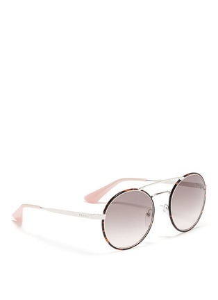Figure View - Click To Enlarge - Prada - Tortoiseshell acetate rim metal round sunglasses