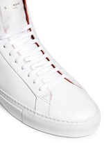 Knot back high top leather sneakers