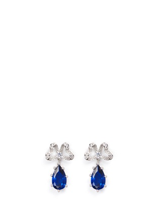 Main View - Click To Enlarge - CZ by Kenneth Jay Lane - Pavé bow stud pear cut cubic zirconia earrings