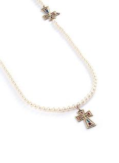 Delfina Delettrez Enamel cross freshwater pearl silver long necklace
