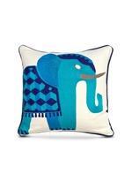 Jaipur bead elephant linen pillow