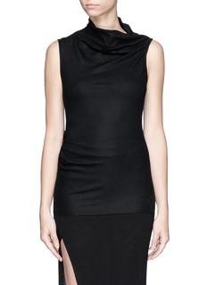 HELMUT LANGDrape neck wool knit sleeveless top
