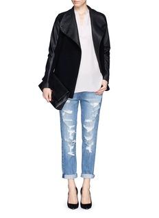THEORY'Naomo' leather collar and sleeve felt jacket
