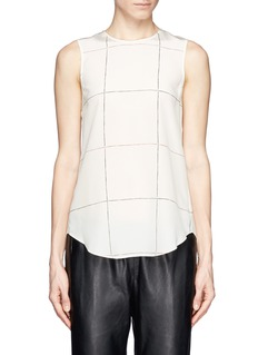 THEORY 'Bringam' check silk top