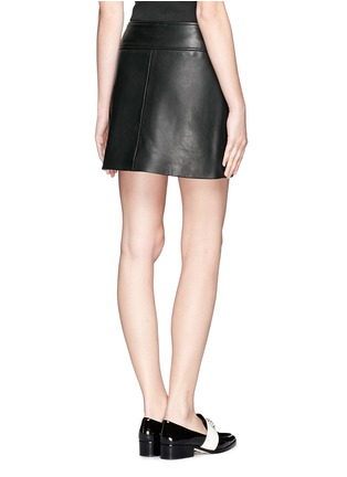 Back View - Click To Enlarge - Theory - Overlapped leather mini skirt