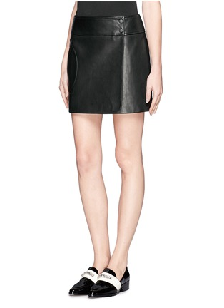 Front View - Click To Enlarge - Theory - Overlapped leather mini skirt