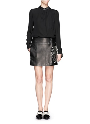 Figure View - Click To Enlarge - Theory - Overlapped leather mini skirt