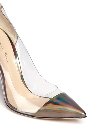 Detail View - Click To Enlarge - Gianvito Rossi - Clear PVC metallic leather pumps