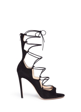 Main View - Click To Enlarge - Gianvito Rossi - Lace-up suede sandals