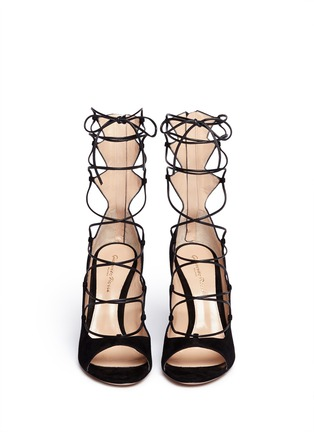 Figure View - Click To Enlarge - Gianvito Rossi - Lace-up suede sandals