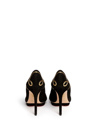 Back View - Click To Enlarge - Charlotte Olympia - 'Prosperous Debbie' metallic knot appliqué suede pumps