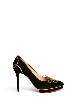 Main View - Click To Enlarge - Charlotte Olympia - 'Prosperous Debbie' metallic knot appliqué suede pumps