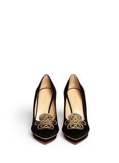CHARLOTTE OLYMPIA'Prosperous Debbie' metallic knot appliqué suede pumps