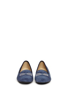 UGG AUSTRALIA 'Alloway' crystal bow suede slip-ons