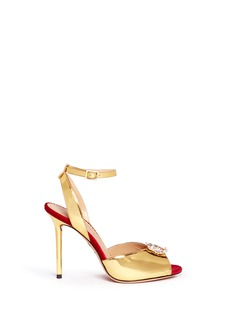 CHARLOTTE OLYMPIA'Sophia' dragon charm metallic leather sandals