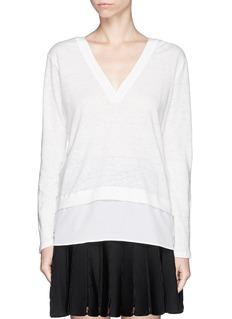SANDROTing' crepe trim linen T-shirt