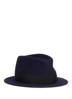 MAISON MICHELJim罗缎帽带装饰防水软呢帽