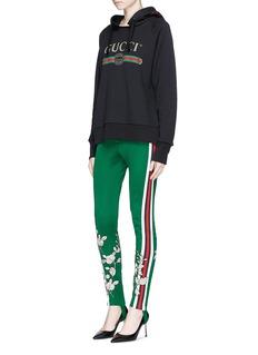 Gucci Floral appliqué Web stripe tech jersey stirrup leggings