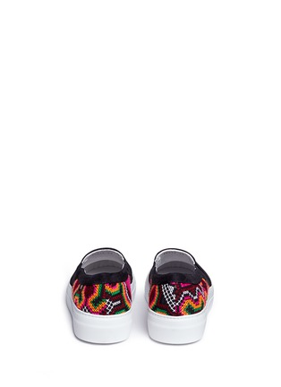 Back View - Click To Enlarge - Joshua Sanders - 'Namibia' tribal embroidered slip-on sneakers