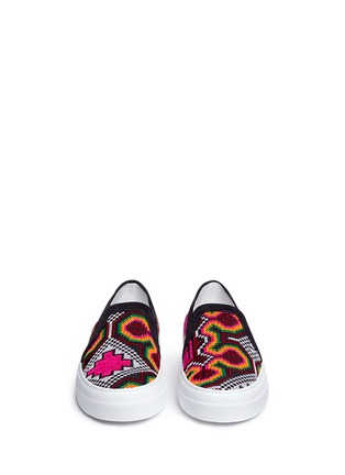 Front View - Click To Enlarge - Joshua Sanders - 'Namibia' tribal embroidered slip-on sneakers