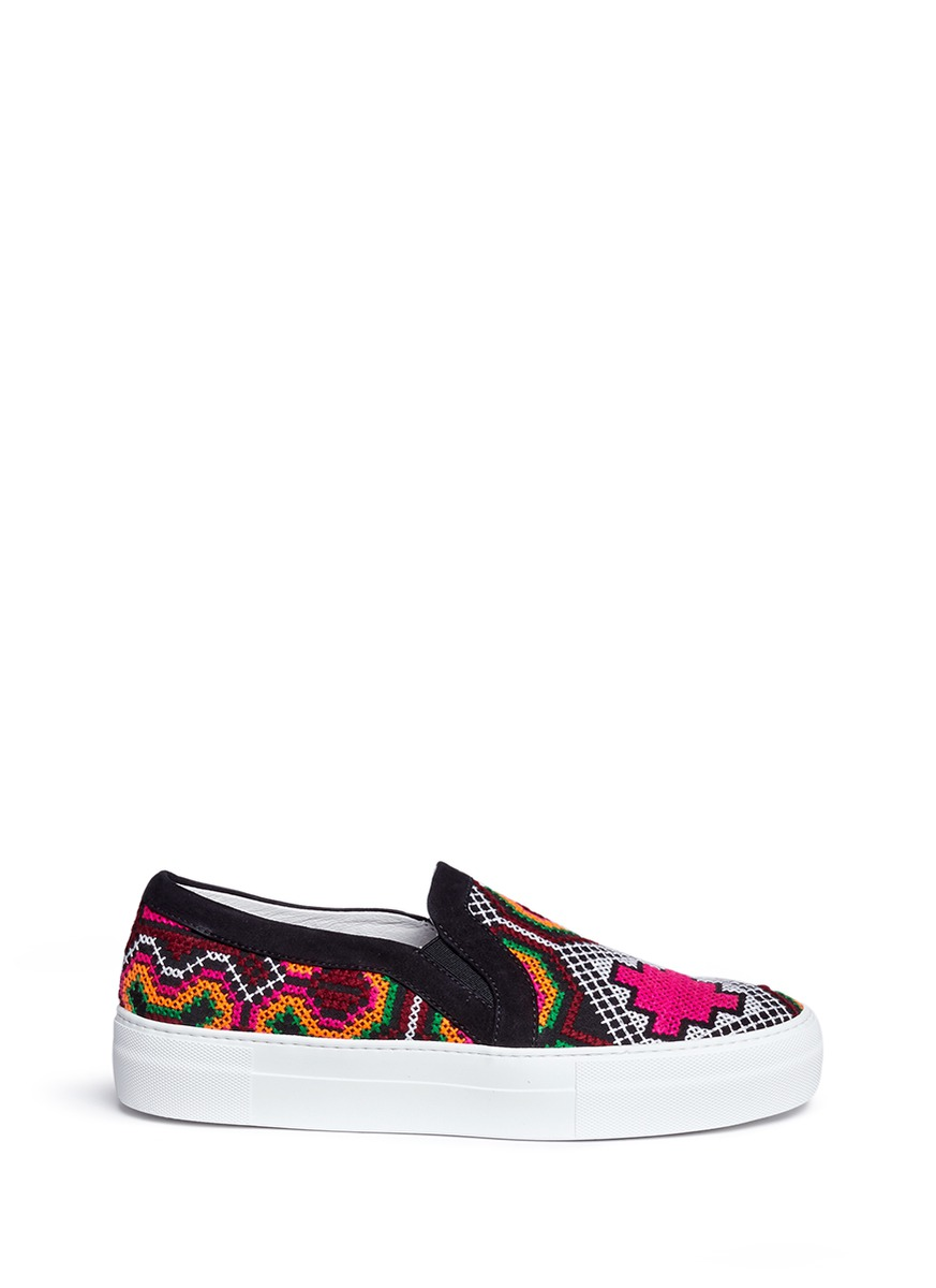 Namibia tribal embroidered slip-on sneakers by Joshua Sanders