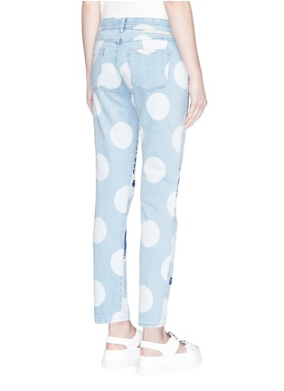 Back View - Click To Enlarge - Stella McCartney - 'Thanks Girls' slogan embroidered polka dot print jeans