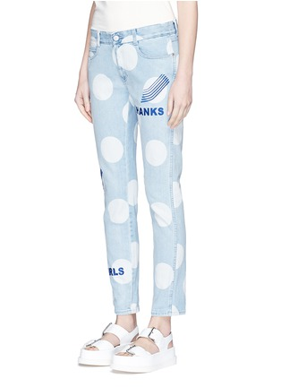Front View - Click To Enlarge - Stella McCartney - 'Thanks Girls' slogan embroidered polka dot print jeans